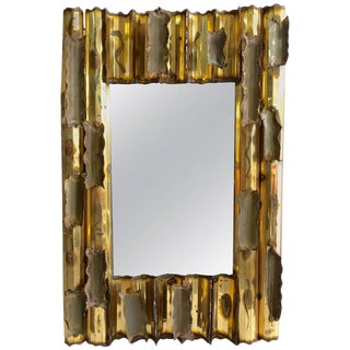 1979 Copper and Brass Brutalist Wall Mirror