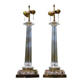 Mid Century Modern Pair Paul Hanson Hollywood Regency Glass Column Table Lamps