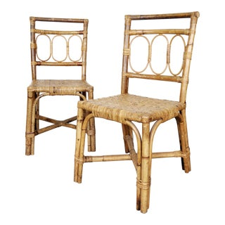 Antique 1920's Bamboo & Rattan Chairs - A Pair