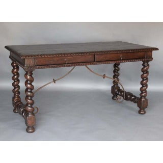 Custom Walnut Wood Barley Twist Writing Desk With Carved Detail and Iron Support