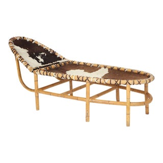 Bamboo and Cowhide Chaise Longue