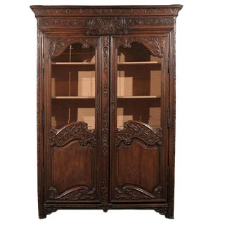 Exquisite French 18th Century Louis XV Carved Bookcase with Chicken Wire Doors