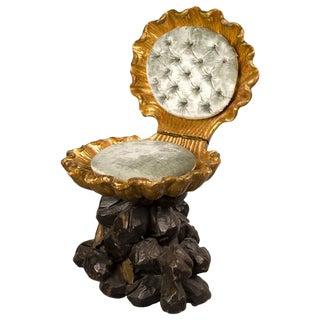 Late 19th Century Italian Polychrome & Gilded Grotto Folding Chair