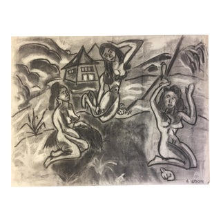 1950s Vintage 3 Graces Female Nudes Charcoal Drawing by Henry Woon