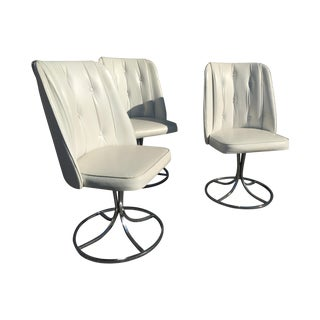 Vintage White Swivel Chairs - Set of 3