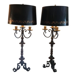 Black and Gold Table Lamps - A Pair