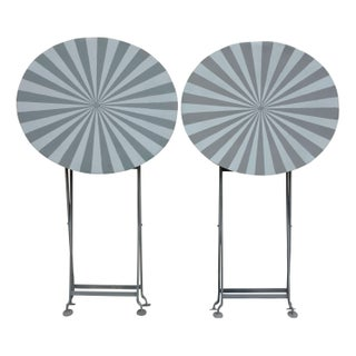 Painted Folding Bistro Tables - A Pair