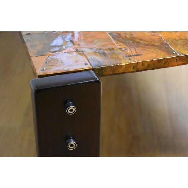Image of Lafer Brazilian Rosewood and Copper Coffee Table