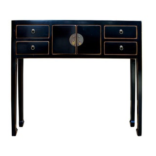 Chinese Distressed Black Narrow Console Table