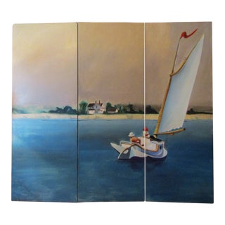 Seascape Painted Room Divider