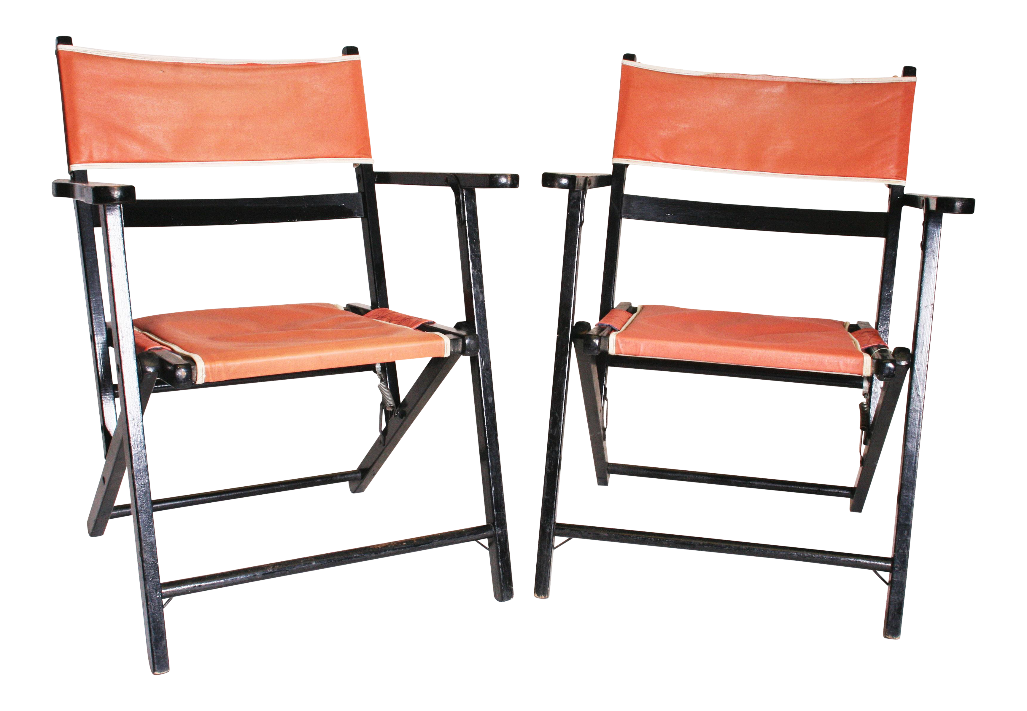 Mid Century Modern Black U0026 Pink Wood Folding Chairs   A Pair