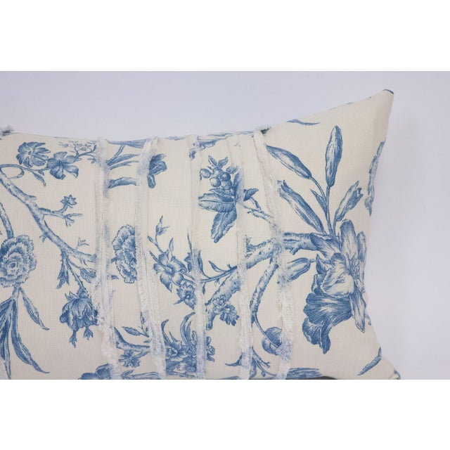 Image of Deconstructed Cream & Blue Floral Pillow