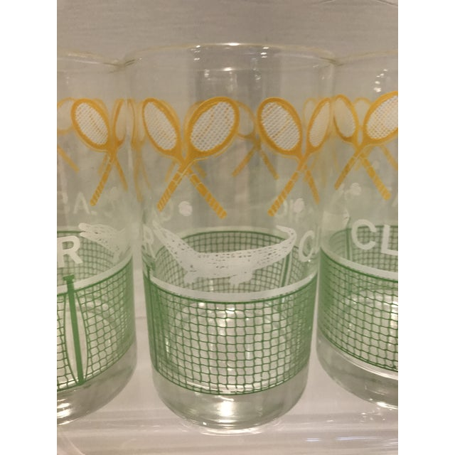 Vintage 1980's Green Yellow and White Alligator Tennis Cocktail Bar Tumbler Glasses - Set of 4 - Image 3 of 7