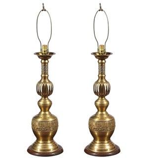 Brass Candlestick Lamps - A Pair