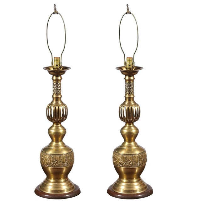 Image of Brass Candlestick Lamps - A Pair