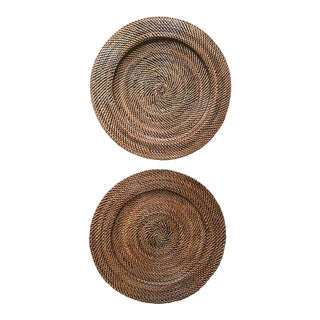 Woven Rattan Round Trays, A Pair