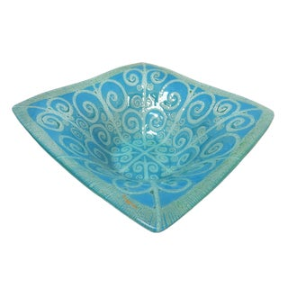 Signed Turquoise Higgins Art Glass Square Bowl