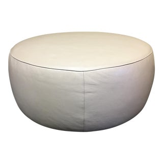 Room & Board Leather Round Lind Ottoman
