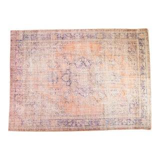 "Vintage Distressed Overdyed Oushak Carpet - 7' x 9'11"""