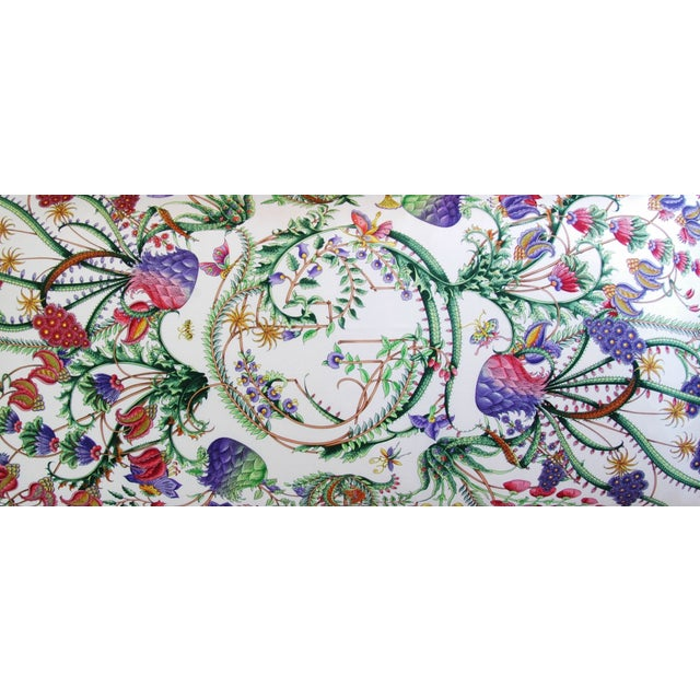 Designer Italian Gucci Floral Fanni Silk Pillow - Image 10 of 11