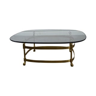 LaBarge Brass & Glass Swan Neck Coffee Table