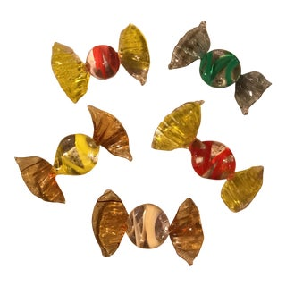 Vintage Murano Style Glass Candy Pieces - Set of 5