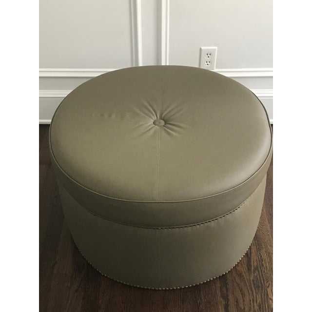Custom Upholstered Green Leather Ottoman - Image 4 of 5