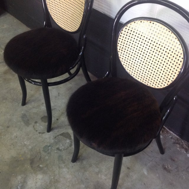 Cane Back Bentwood Chairs With Cowhide Seats - Image 6 of 8
