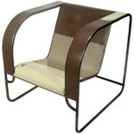 Image of Club Chair Hand Fabricated From Reclaimed Steel by Midwestern Artist