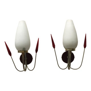 Beautiful Pair Of Maison Lunel French Wall Sconces 1950's