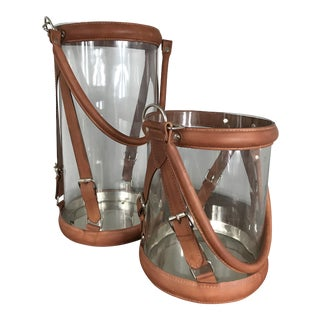 Stitched Leather & Glass Hurricane Candle Holders - A Pair