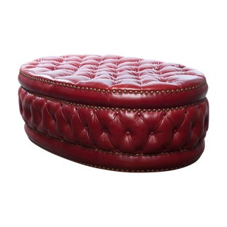 Vintage 1930s Chesterfield Red Leather Ottoman