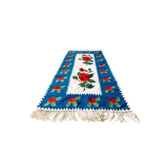 World of Roses - Vintage Hand-Woven Turkish Kilim - 3′4″ × 7′6″