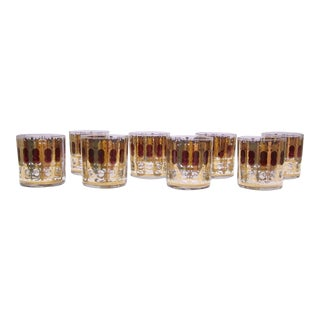 Signed Burgundy & Gold Filigree Drinking Glasses - Set of 8