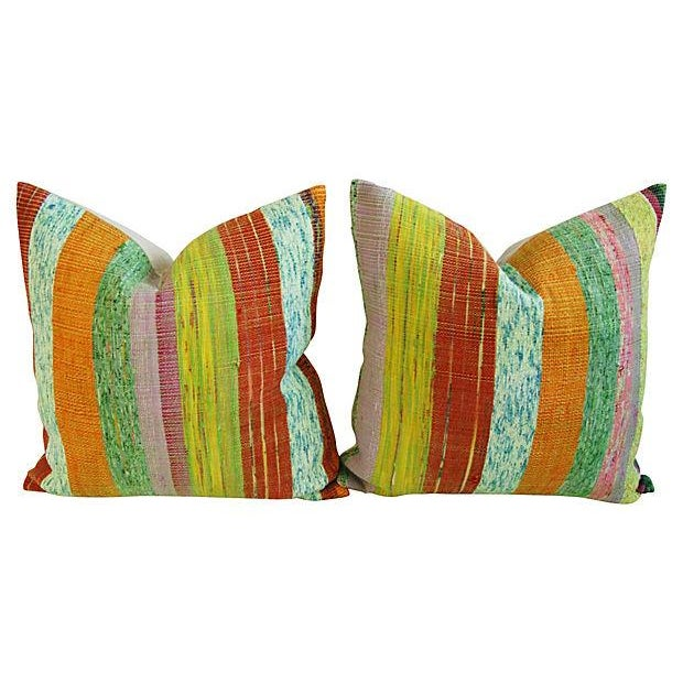 Custom Hand-Looped/Tufted Chindi Pillows - a Pair - Image 1 of 6