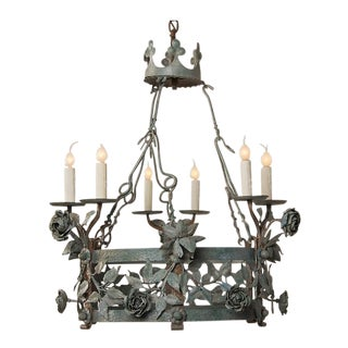 Floral motif iron chandelier from the Art Nouveau period in France c.1910 with a painted finish.