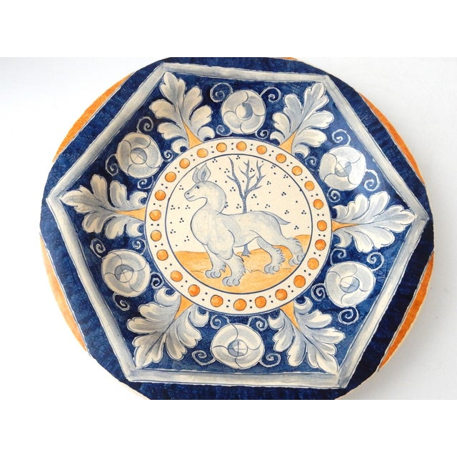 Vintage Italian Blue & Yellow Majolica Platter - Image 3 of 6