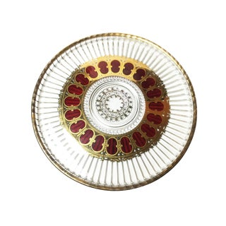 Vintage Culver Mid Century Red & Gold Leaf Scroll Glass Tray