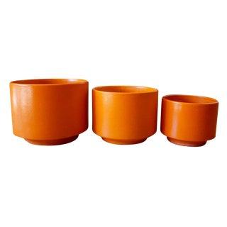 Gainey Orange Ceramic Pots - Set of 3