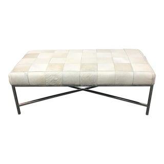 Tamlane White Leather Patchwork Bench