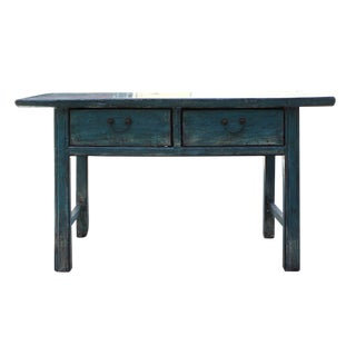 Chinese Distressed Blue 2 Drawers Sideboard Console Table