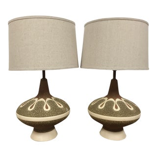 Quartite Style Pottery Lamps - a Pair