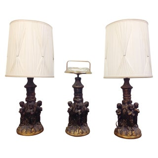 Dancing Cherub Lamps & Standing Ashtray - Set of 3