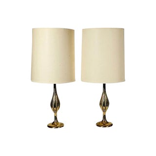 1960s Gilt Metal Laurel Style Table Lamps - A Pair