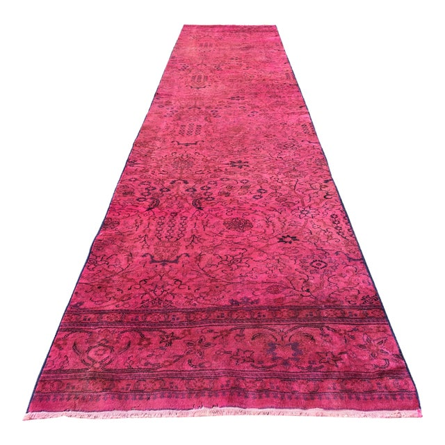Hot Pink Overdyed Runner Rug - Image 1 of 9
