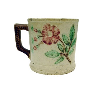 Antique Majolica Mug With Roses