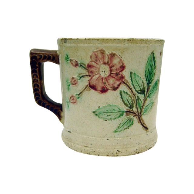 Antique Majolica Mug With Roses - Image 1 of 5