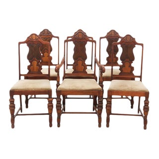 Louis XIII Style Dining Chairs, S/6