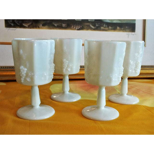 White Opalescent Glass Paneled Grape Goblets - S/4 - Image 8 of 9