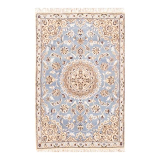 "Persian Nain Silk & Wool Rug - 2'10"" x 4'5"""
